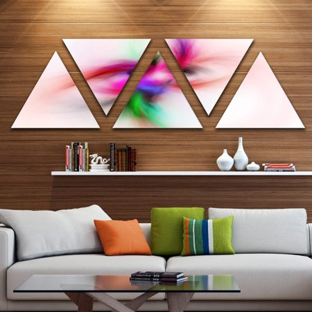 DESIGN ART Designart 'Colorful Electromagnetic Field' Contemporary Wall Art Triangle Canvas - 5 Panels 60 in. wide x 28 in. high - 5