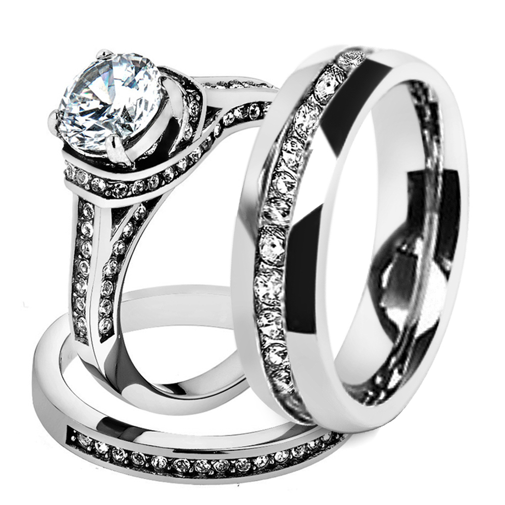 Marimor Jewelry His Hers Stainless Steel 3 Piece Cz Wedding Ring