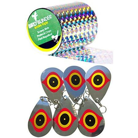 (Bird Blinder - Bird Repellent Bundle - Scare Tape and 6 Deterrent Disks)