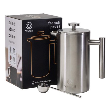French Press Coffee Maker 34oz - Stainless Steel Double Wall Vacuum Insulated Rust-Free With Bonus Tablespoon Scoop by Vertall - Stainless