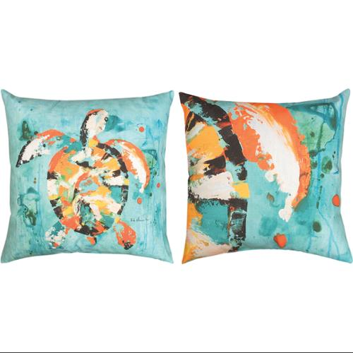 "18"" Reversible Sea Turtle Bay Outdoor Patio Throw Pillow"