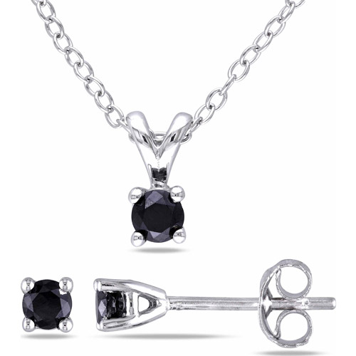 """1/2 Carat T.W. Black Diamond Sterling Silver Solitaire Pendant and Earrings Set, 18"""""""