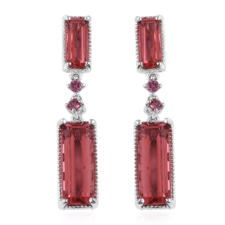 Dangle Drop Earrings 925 Sterling Silver Platinum Plated Triplet Coral Quartz Pink Tourmaline Jewelry for Women Ct 20.4