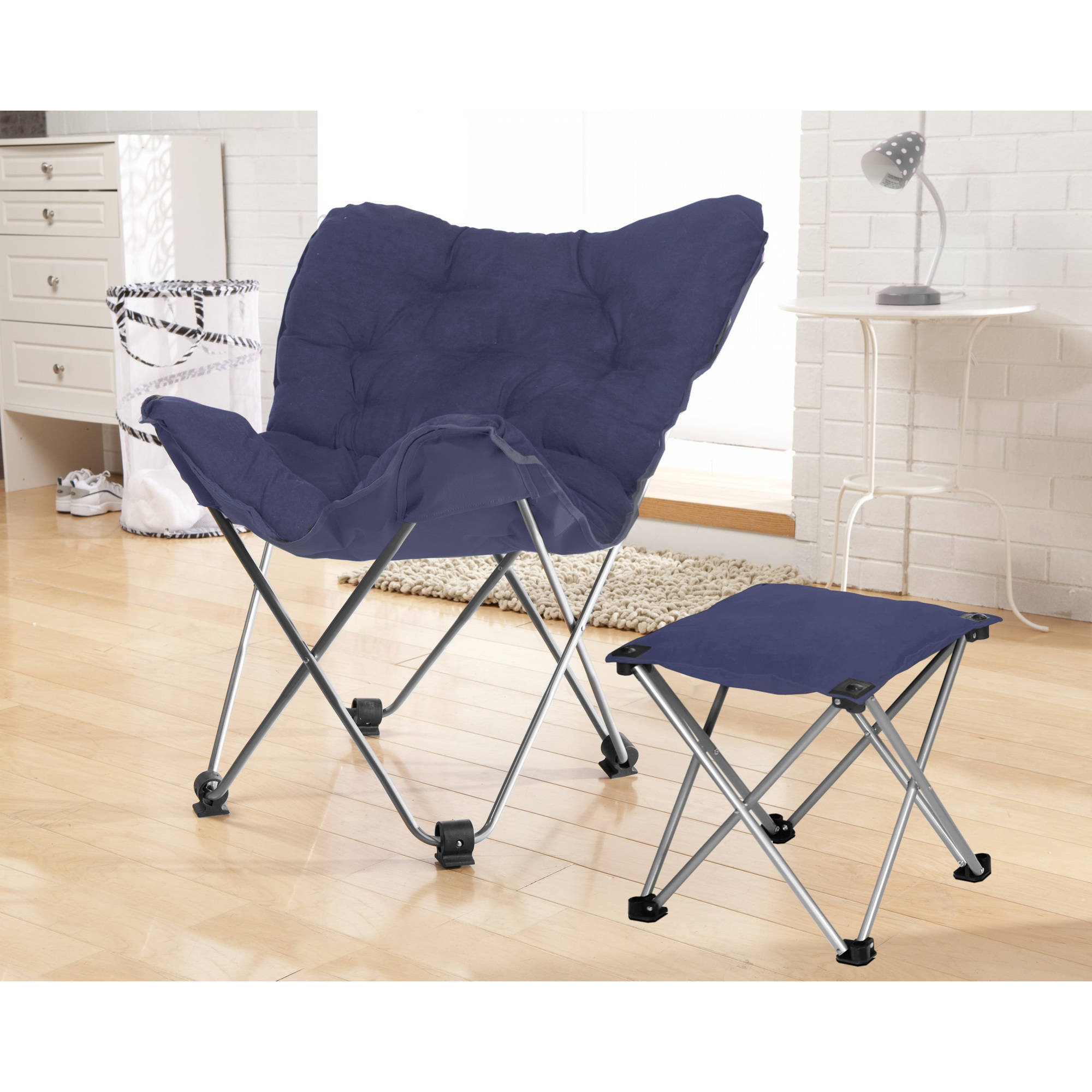 your zone butterfly chair with footrest, navy