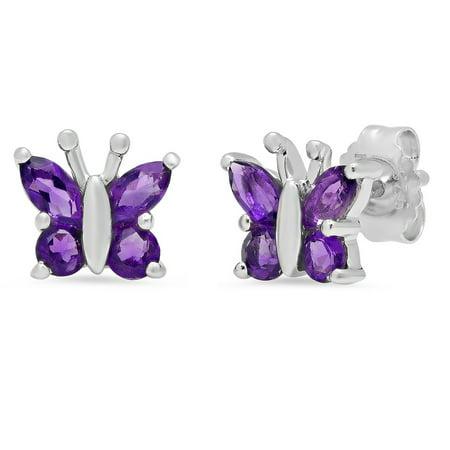 Amanda Rose Sterling Silver Amethyst Butterfly Stud Earrings