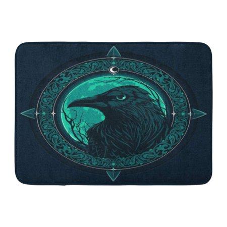 GODPOK Arrow Abstract Black Raven on Moon with Ornamental Animal Beak Rug Doormat Bath Mat 23.6x15.7 inch