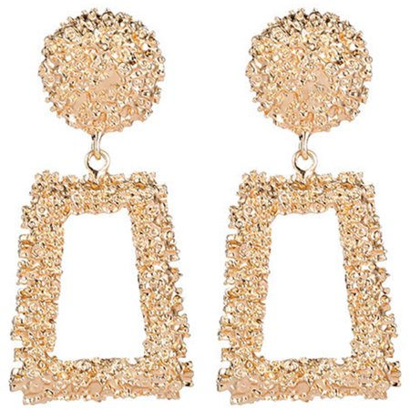 Fancyleo Raised Design Earrings Punk Bohemian Geometric Statement Drop Dangle Earrings Women Lady Jewelry 14k Gold Filled Dangle Earrings