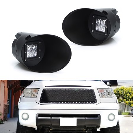 iJDMTOY Complete 40W CREE Cubic LED Pod Light w/ OEM Fog Light Location Mount Brackets, Foglamp Bezels, Face Covers and On/Off Switch Relay Wiring For 2007-2013 Toyota (2007 Toyota Tundra Fuel Pump Relay Location)