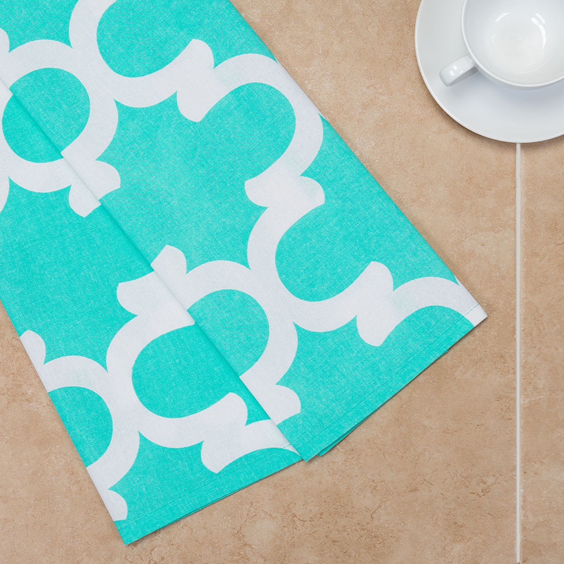 18 x 28 in. Mint & White Trellis Kitchen Towels 2 pack by