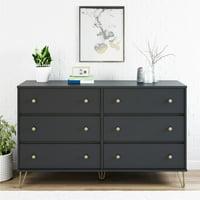 Novogratz Owen Mid-Century Modern 6 Drawer Dresser, Black