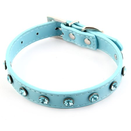 Dog Cat Leather Collar (Faux Leather D Shape Ring 5 Adjustable Hole Pet Dog Cat Collar Strap Blue)