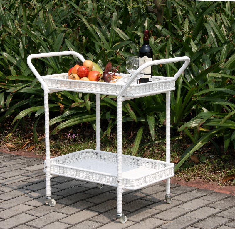 "32"" White Resin Wicker Outdoor Patio Garden Serving Cart with Wheels"