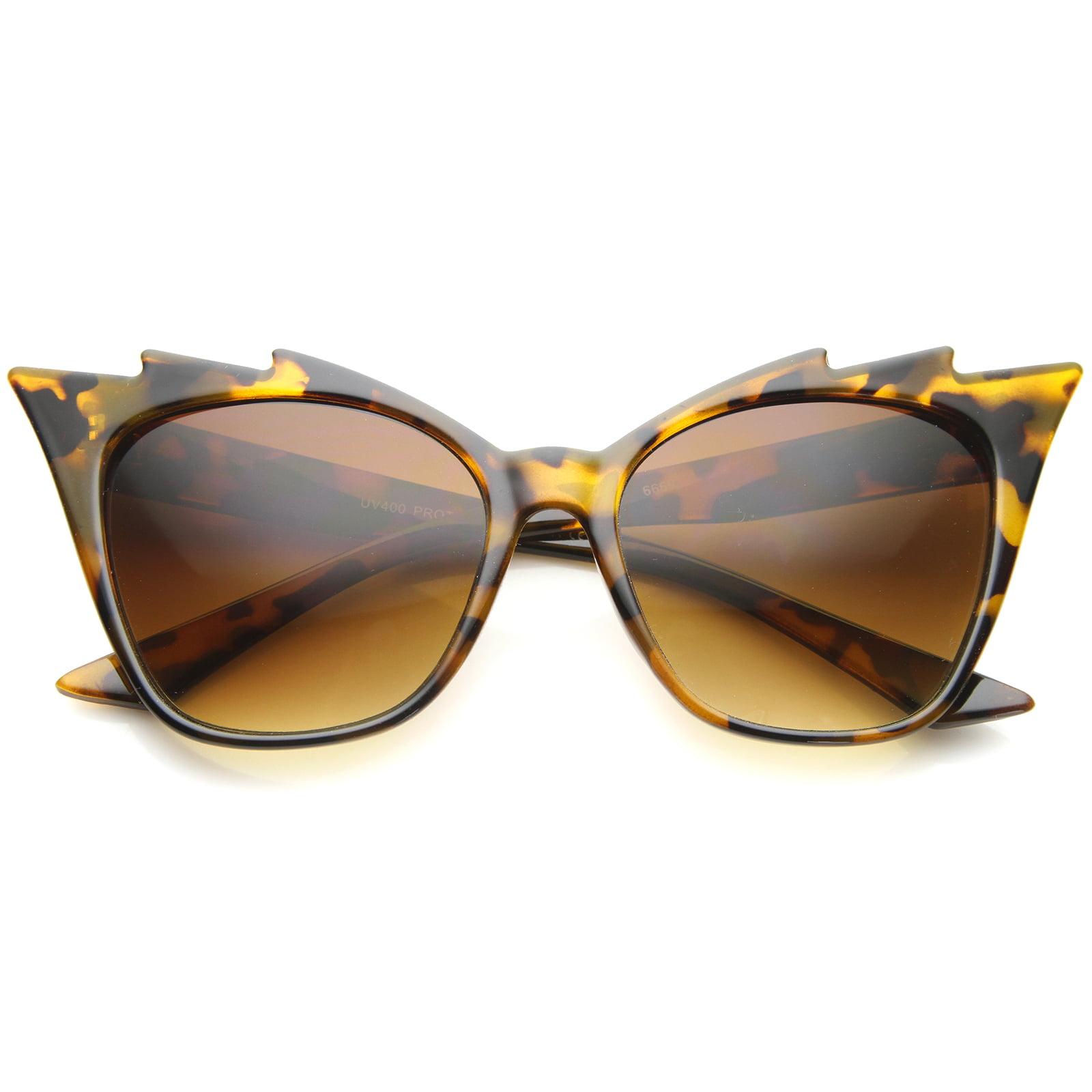 sunglassLA - Womens High Fashion Glam Rock Jagged Edge Staggered Cat Eye Sunglasses - 60mm