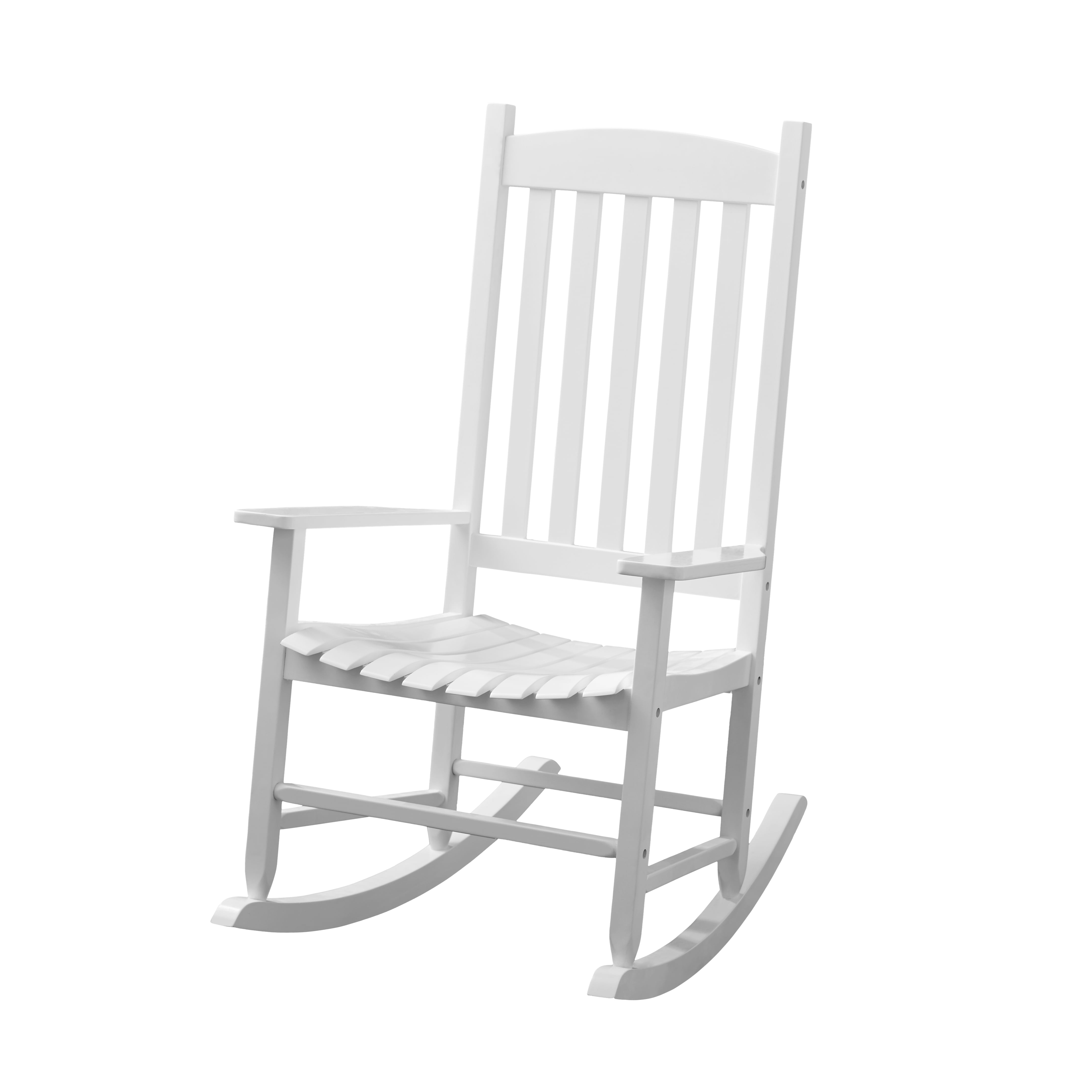 Mainstays White Solid Wood Slat Outdoor Rocking Chair   Walmart.com