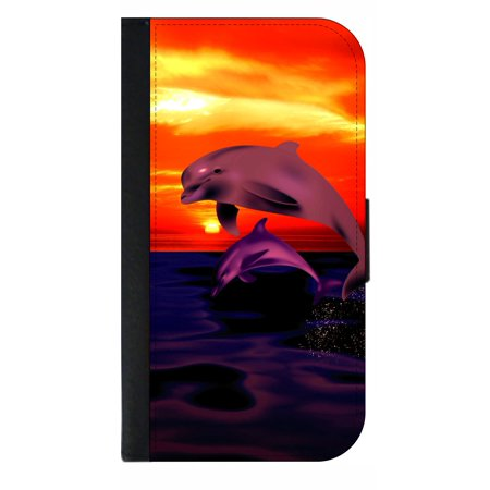 Playful Dolphins - Wallet Style Cell Phone Case with 2 Card Slots and a Flip Cover Compatible with the Standard Apple iPhone 7 and 8