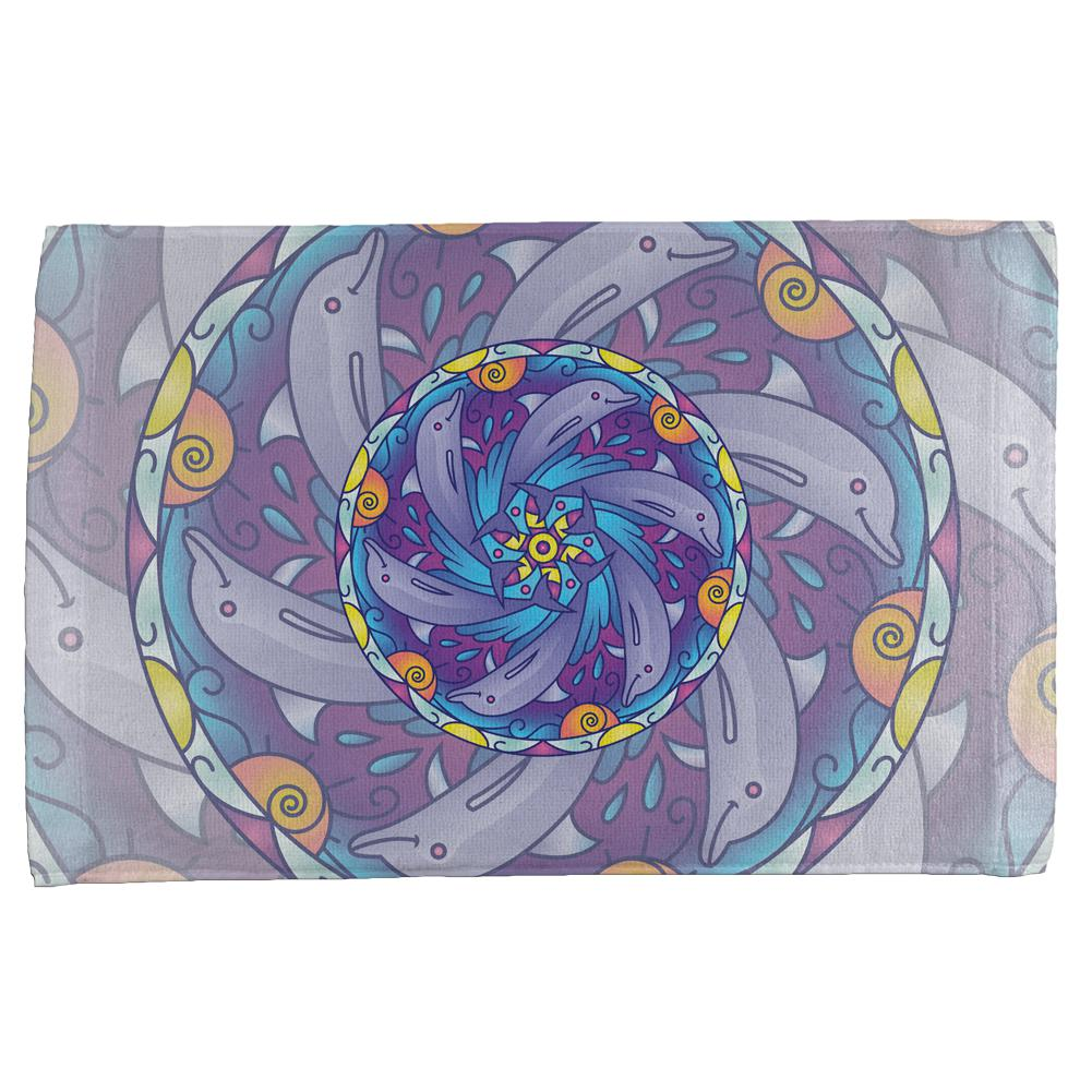 Mandala Trippy Stained Glass Dolphins All Over Hand Towel