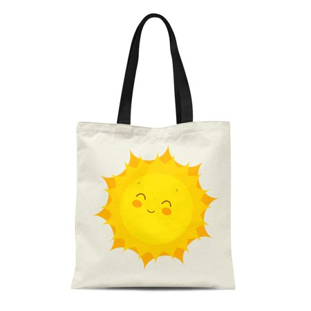 HATIART Canvas Tote Bag Yellow Sunshine Funny Sun Flat Cute Sunny Cartoon Summer Reusable Shoulder Grocery Shopping Bags Handbag - image 1 of 1