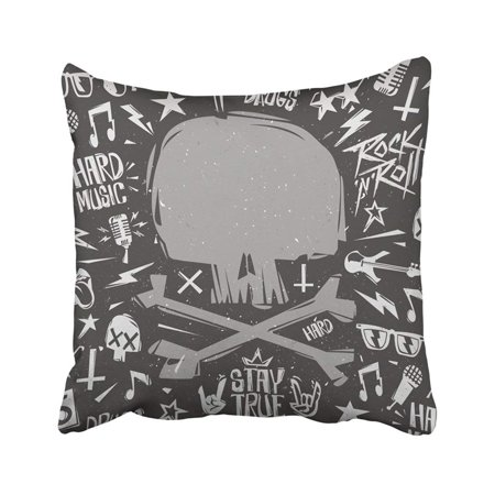 BPBOP Rock N Roll Style Blank With Shape Of Skull Monochrome Rock'n'roll For Party Easy Pillowcase Throw Pillow Cover 18x18 inches](Skull Shapes)