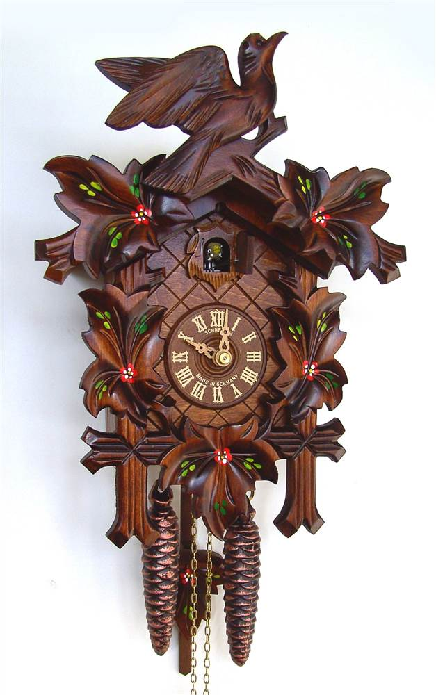 1-Day Traditional Hand Painted Flowers Cuckoo Clock by Schneider Cuckoo Clocks