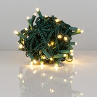 Kringle Traditions 5mm LED Warm White Christmas Lights, Mini LED String Lights; 50 Lights, Green Wire, 25ft (Balled Set)