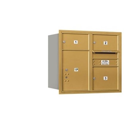 - Salsbury 3707D-03GRP 4C Horizontal Mailbox Includes Master Commercial Lock - 7 Door High Unit - 27 Inches - Double Column - 2 Mb2 Doors - 1 Mb3 Door - 1 Pl5 - Gold - Rear Loading - Private Access