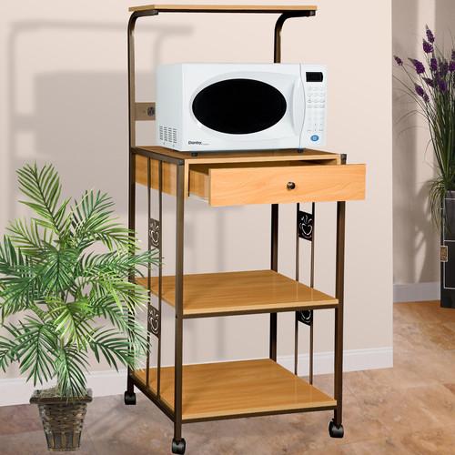 Home Source Hazelwood Home Microwave Cart with Wood Top I