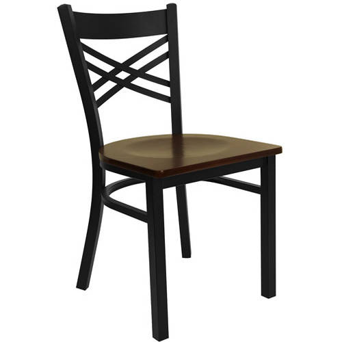Flash Furniture X-Back Chairs - Set of 2, Black Metal / Mahogany Wood Seat
