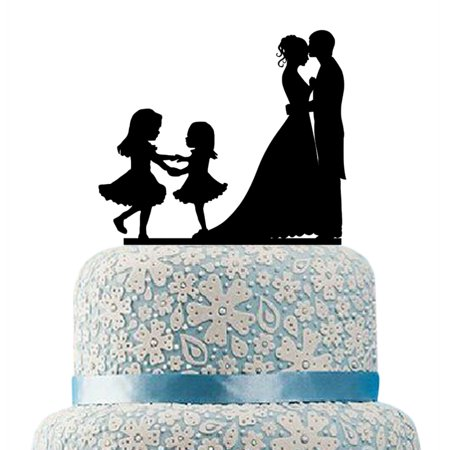 buythrow family wedding cake topper bride and groom two little girls bride and groom cake