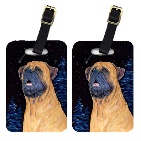 Pair of 2 Bullmastiff Luggage Tags