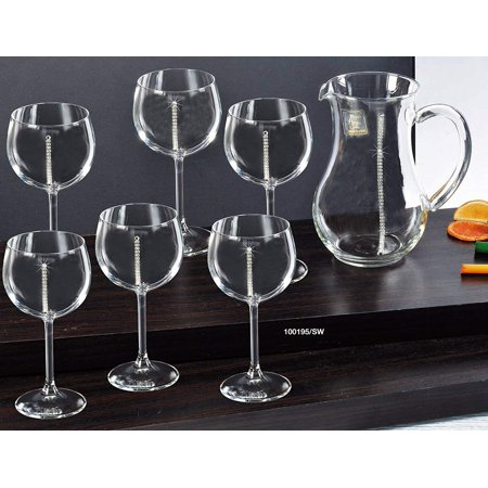 Italian Collection Pitcher With Wine Glasses, Swarovski Crystal, Lead Free