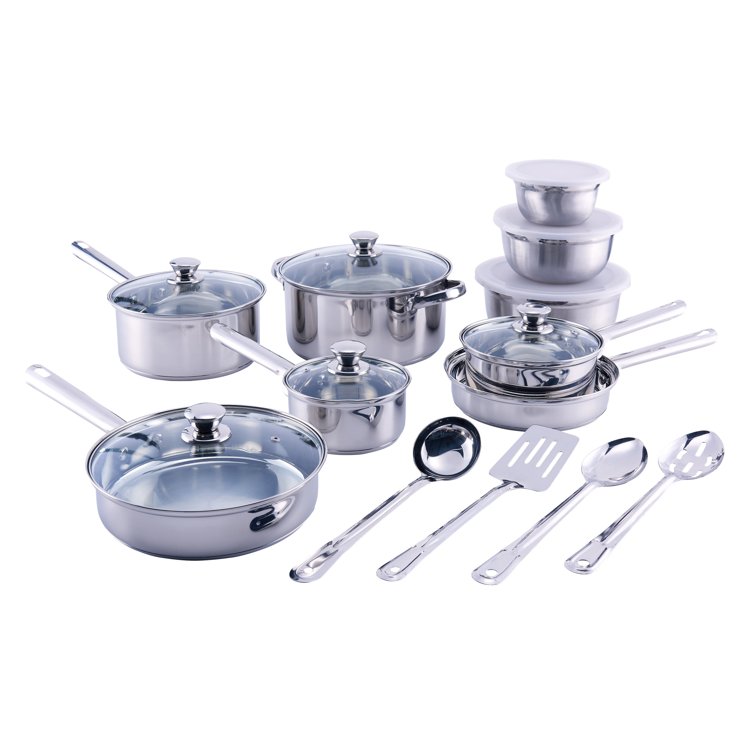 Walmart Housewares: Mainstays Stainless Steel 18 Piece Cookware Set, With