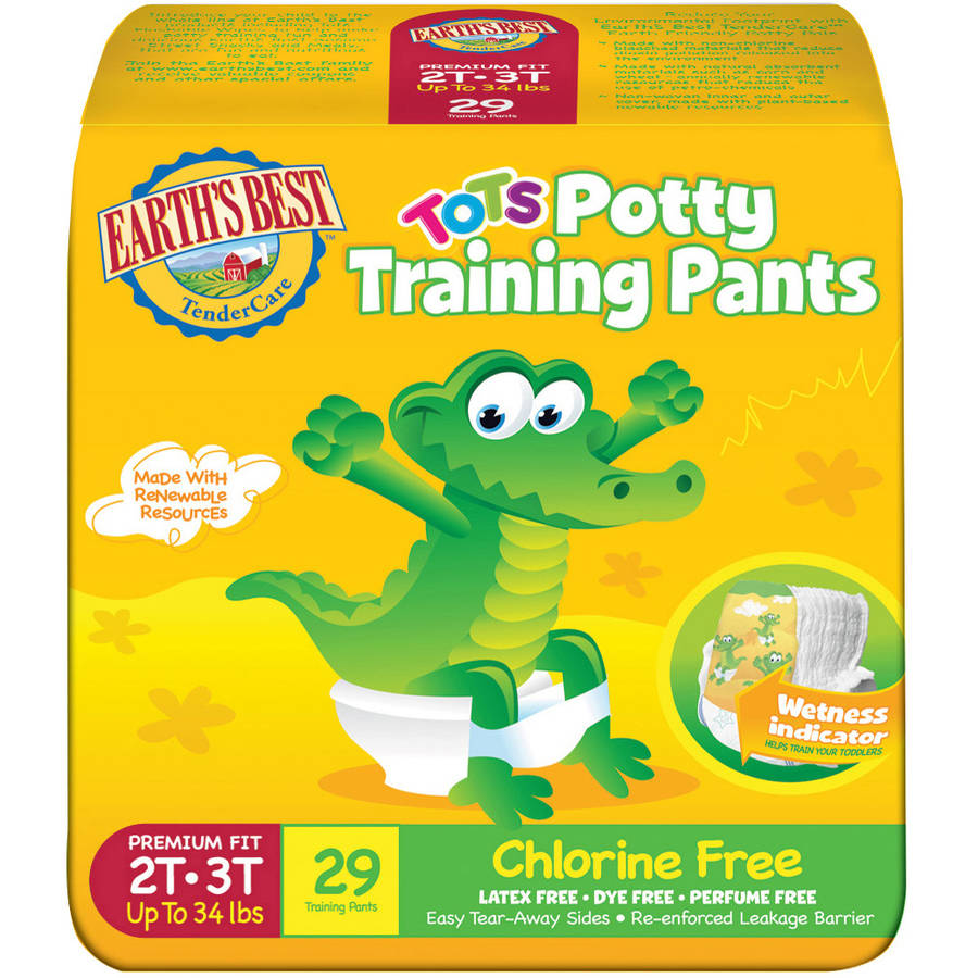 Earth's Best TenderCare Tots Potty Chlorine Free Training Pants, (Choose Your Size)