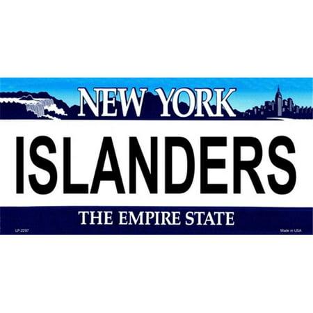 New York Islanders License Plate (LP-2297 New York State Background License Plates-)
