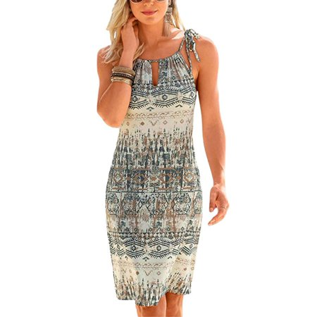 140428b8f68a Freshlook - Women Halter Neck Boho Print Sleeveless Casual Mini Beachwear  Dress Sundress - Walmart.com