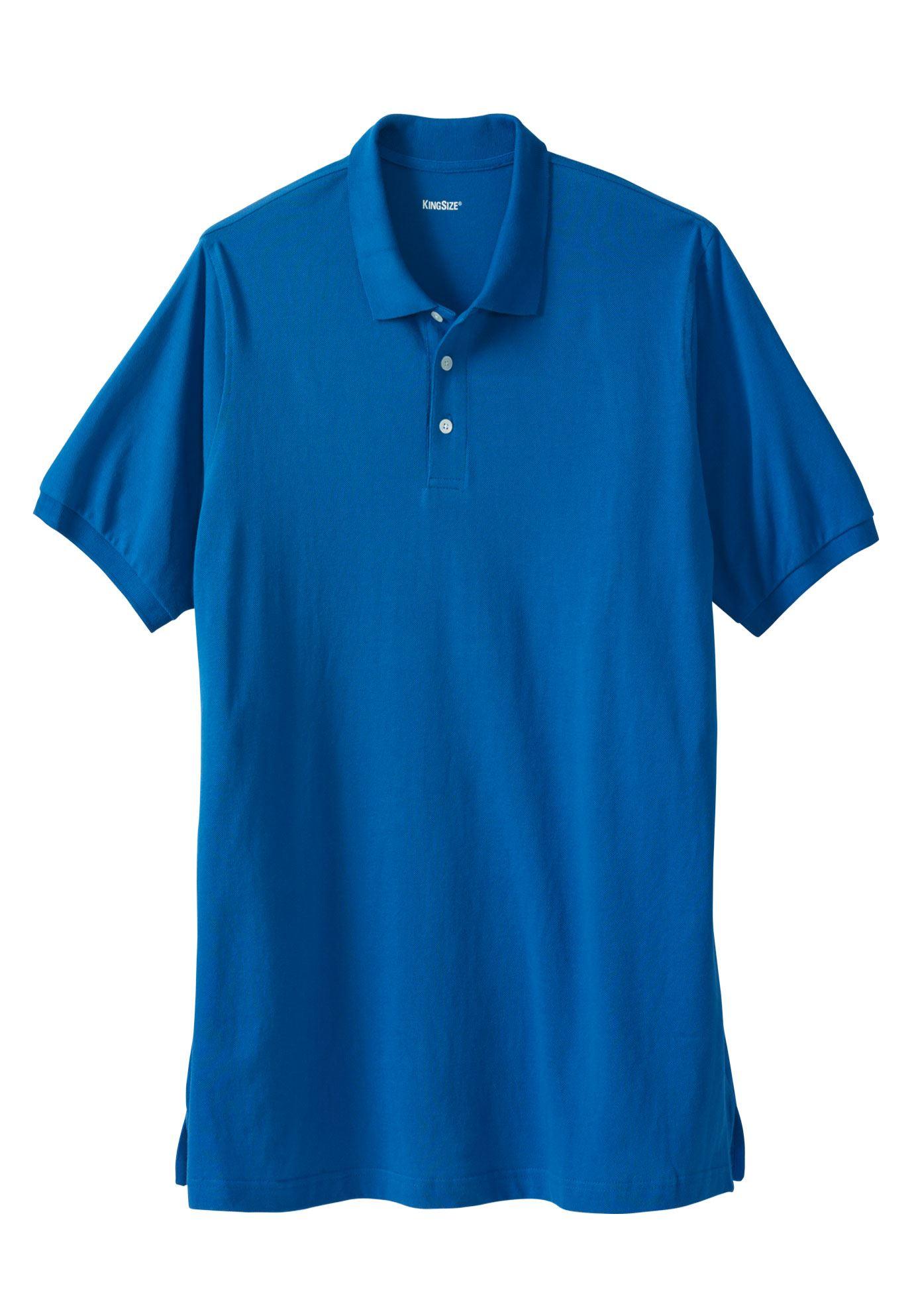 Kingsize Men's Big & Tall Longer-length Pique Polo Shirt
