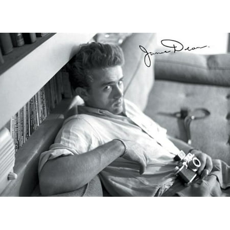 James Dean Camera Relaxing Couch Hollywood Movie Actor Icon Poster   17X11 Inch