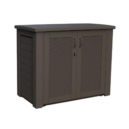 Rubbermaid Rattan Deck Box, Cabinet, Black Oak Rubbermaid Deck Box