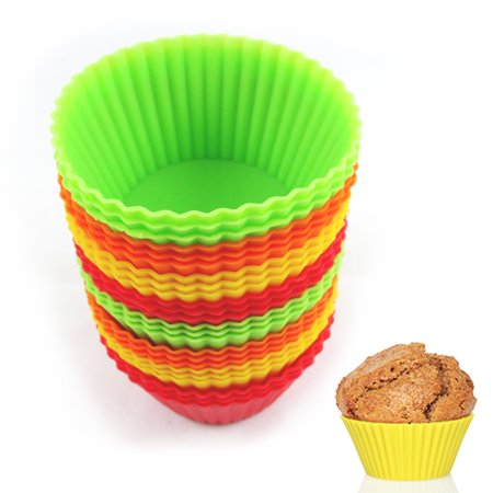 12 Silicone Cupcake Liner Holders Bake Muffin Dessert Baking Chocolate Cups Mold ()