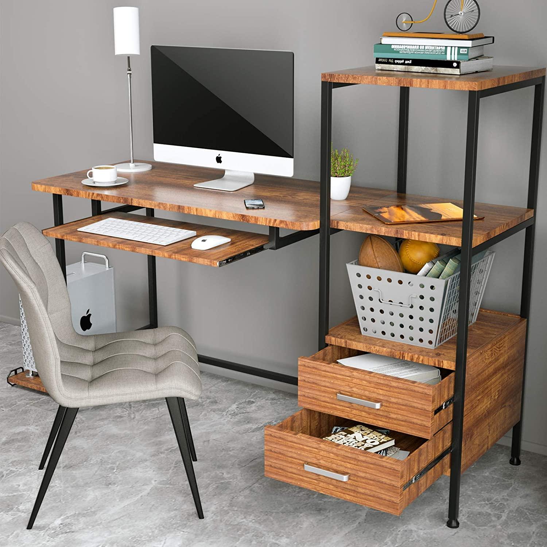 Computer Table Modern Desk Home Office Study Workstation Writing Furniture Shelf
