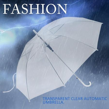 Sunrain High Quality Fashion Transparent Clear Automatic Umbrella for Rain Parasol For Wedding Party Favor