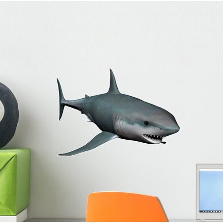 Shark Wall Decal Sticker, Wallmonkeys Peel & Stick Vinyl Graphic (12 in W x 9 in H) (Shrek Wall Decals)