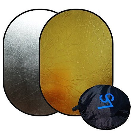 """Loadstone Studio Photo Video Studio 24""""x36"""" Silver/Gold Collapsible Disc Reflector For Indoors or Outdoors Photography and Video, WMLS3357"""