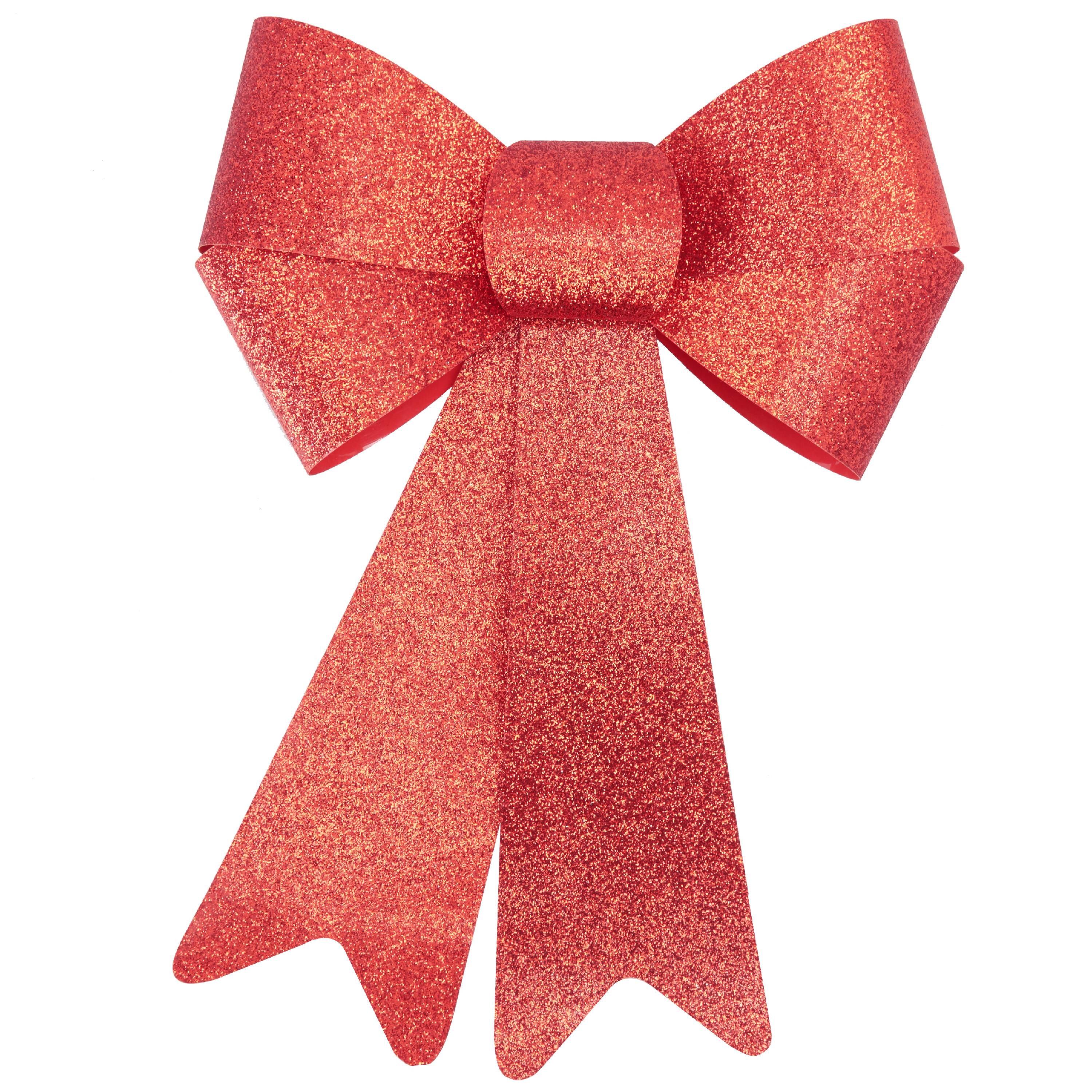 Holiday Time Red Glitter Rigid Bow