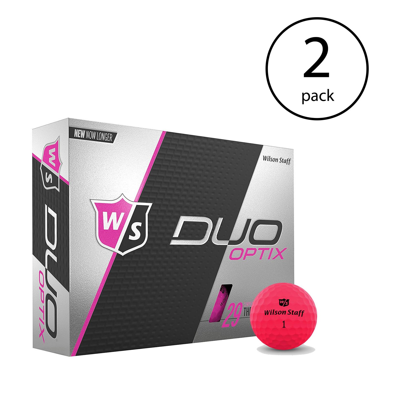 Wilson Staff Duo Soft Optix Proton Pink Low Compression Golf Balls, 2 Dozen