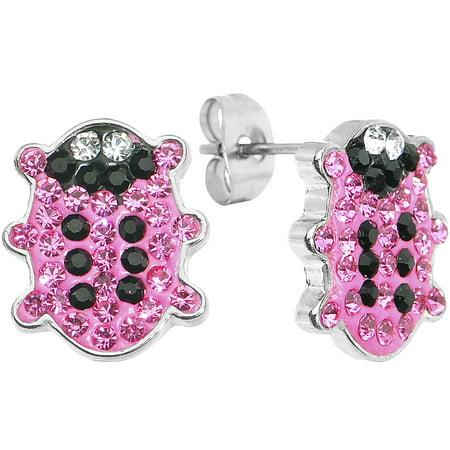 Body Candy Pink Ferido Snuggle Bug Stud Earrings - Bug Shaped Candy