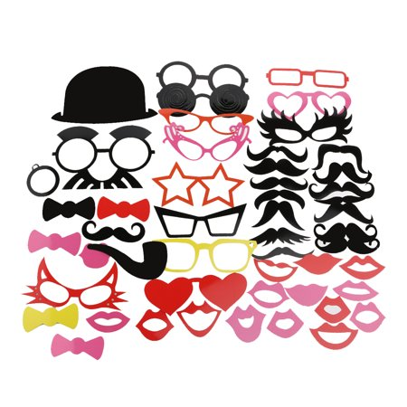 A Set of 50pcs DIY Funny Colorful Glasses Moustache Red Lips Bow Ties Hats Smoking Pipes On Sticks Wedding Birthday Party Photo Booth Props