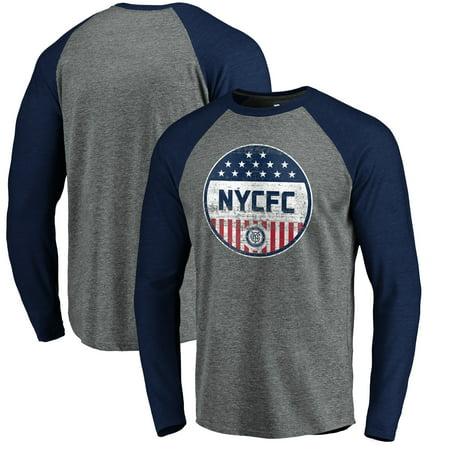 New York City FC Fanatics Branded Americana Parade Pin Long Sleeve Tri-Blend Raglan T-Shirt - Heathered Gray (Halloween Parade 2017 New York)