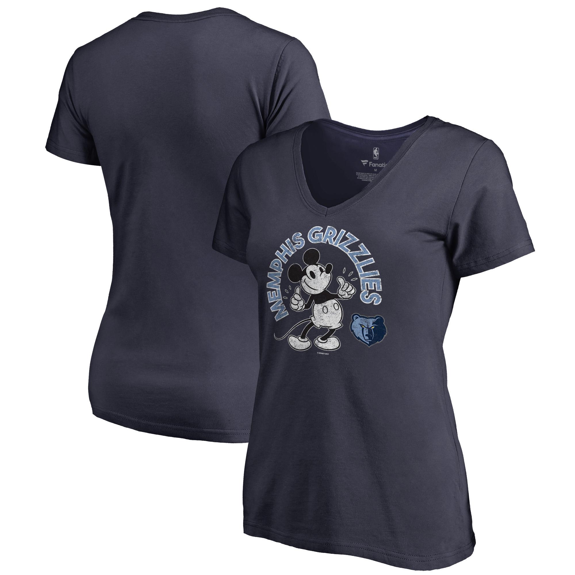 Memphis Grizzlies Fanatics Branded Women's Disney Mickey's True Original Arch V-Neck T-Shirt - Navy