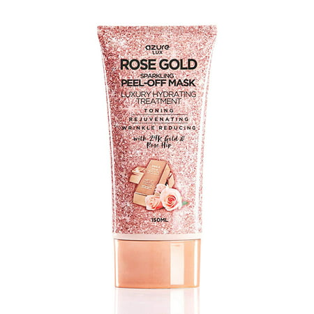AZURE Rose Gold Luxury Hydrating Peel Off Face Mask – Deeply Exfoliates Blackheads, Dirt & Oils   Anti Aging, Toning & Rejuvenating   Reduces Wrinkles, Fine Lines & Acne Scars   Made in Korea - 150mL