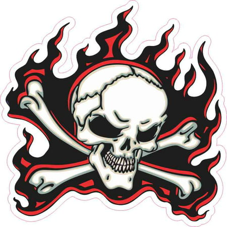 5in x 5in Red Flame Skull Bumper Sticker Car Vinyl Truck Window - Cars Stickers